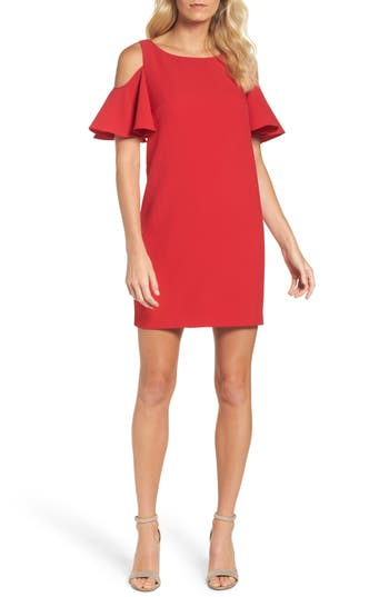Chetta B Ruffle Cold Shoulder Shift Dress, Red