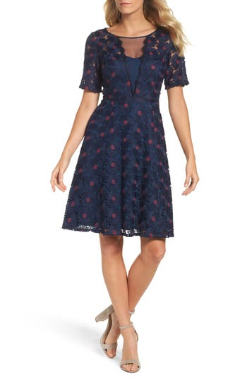 Petite Women's Adrianna Papell Lace Fit & Flare Dress