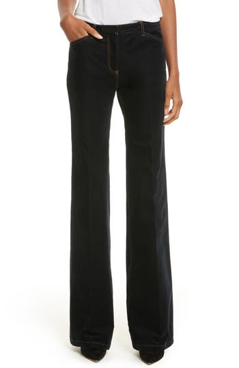 Theory Demitria Velvet Denim Flare Leg Pants, Blue