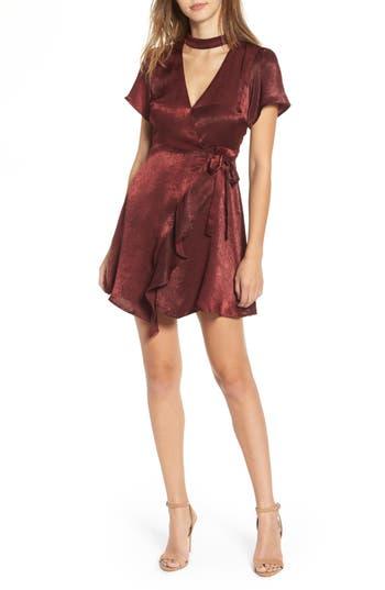 Women's Lush Satin Choker Wrap Dress, Size Medium - Burgundy