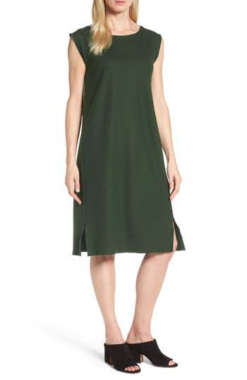 Eileen Fisher Wool Jersey Shift Dress, Green