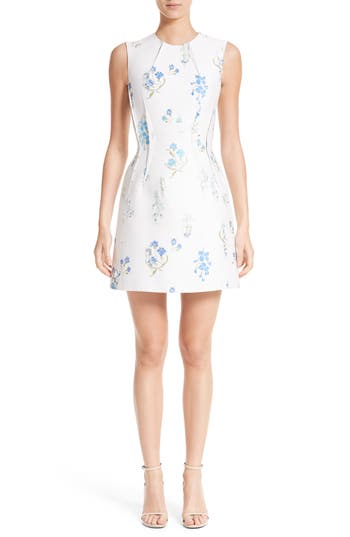 Versace Collection Distressed Floral Jacquard Fit & Flare Dress, US / 40 IT - White