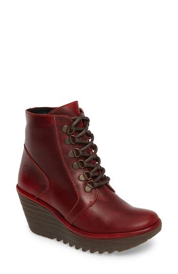 Fly London Yarn Lace-Up Wedge Boot - Red