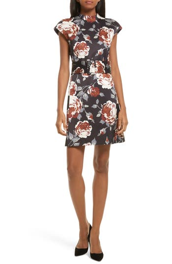 Theory Mod Belted Floral Dress, Black