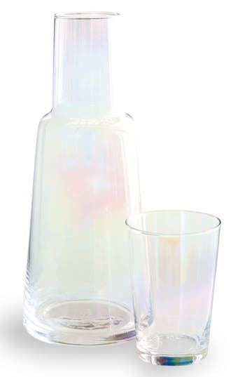 Rosanna Iridescent Glass Carafe & Cup, Size One Size - White