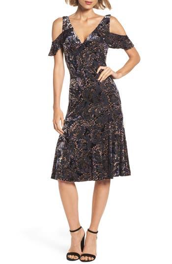 Adrianna Papell Cold Shoulder Velvet Burnout Dress, Blue