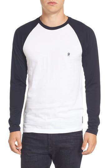 French Connection Slim Fit Long Sleeve Raglan T-Shirt, White