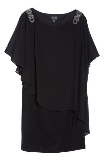 Plus Size Xscape Embellished Chiffon Overlay Jersey Dress