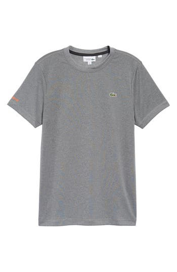 Lacoste Pinstripe Grommet T-Shirt, Grey