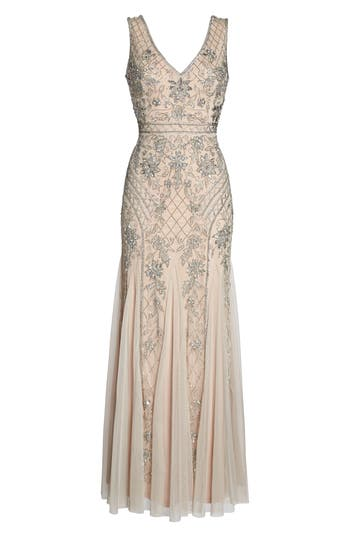 Adrianna Papell Beaded Double V-Neck Gown, Metallic