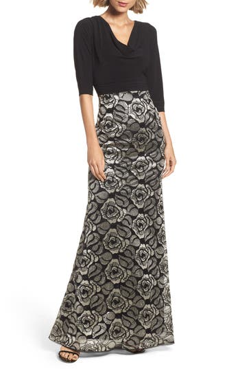 Adrianna Papell Cowl Neck Rose Lace Gown, Black