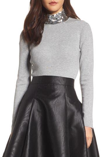 Women's Eliza J Sequin Mock Neck Sweater