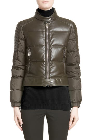 Moncler Clematis Leather Trim Down Puffer Jacket, Green