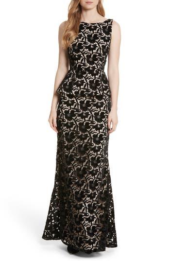 Alice + Olivia Jae Peplum Open Back Dress, Black