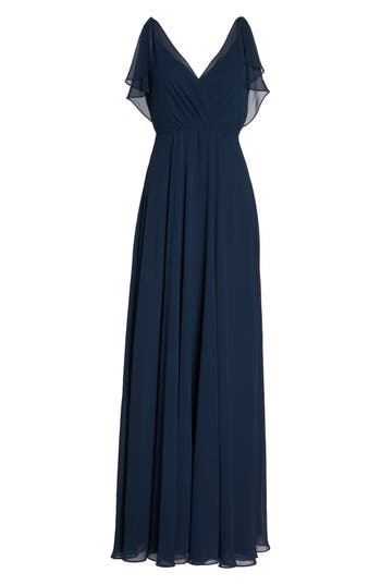 Jenny Yoo Cassie Flutter Sleeve Chiffon A-Line Gown, Blue
