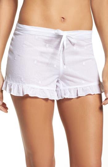 Women's Pour Les Femmes Ruffle Sleep Shorts, Size Small - White