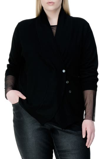 Plus Size Universal Standard Curved Merino Wool Cardigan, Black
