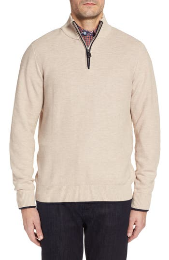 Tailorbyrd Sikes Tipped Quarter Zip Sweater, Beige