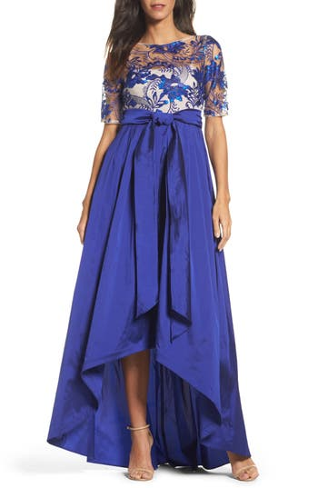 Adrianna Papell Sequin Lace & Taffeta Ballgown, Blue