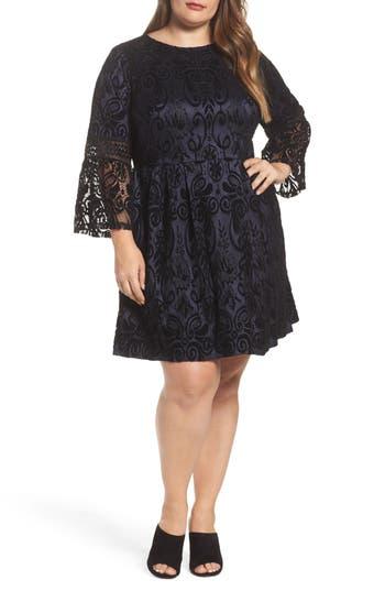 Plus Size Eliza J Velvet Lace Fit & Flare Dress, Blue