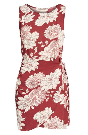 Mimi Chica Wrap Skirt Dress, Burgundy
