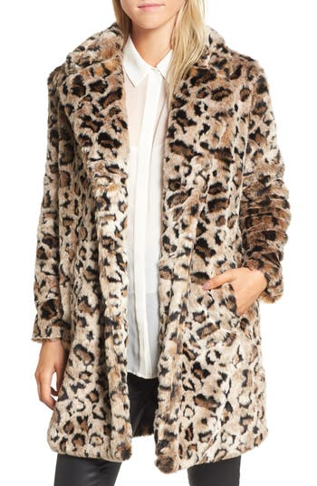 Women's Bb Dakota Rooney Leopard Spot Faux Fur Coat, Size X-Small - Brown