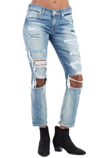 True Religion Brand Jeans Ripped Straight Leg Jeans, Black