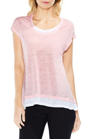 Two By Vince Camuto Colorblocked Linen Top, Pink