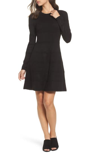 Eliza J A-Line Sweater Dress, Black