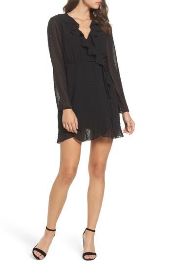 Women's Bardot Dobby Faux-Wrap Dress, Size X-Small - Black