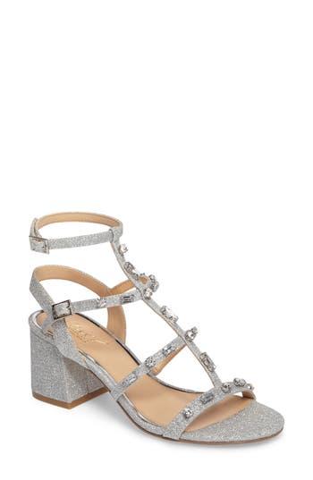 Jewel Badgley Mischka Ana Crystal Studded Block Heel Sandal, Metallic