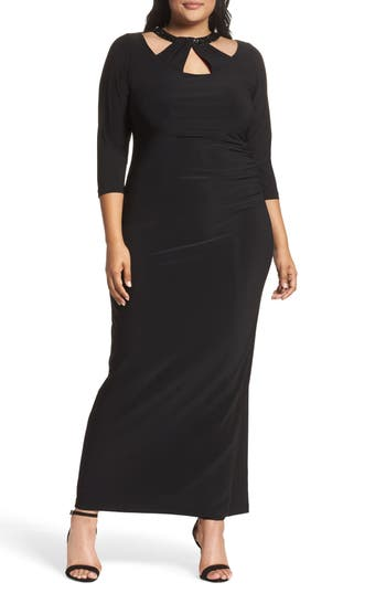 Plus Size Marina Embellished Neck Matte Jersey Gown, Black
