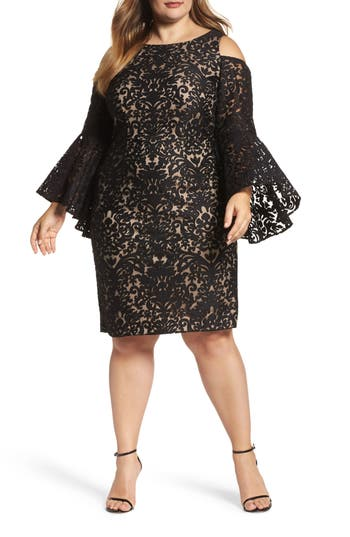 Plus Size Xscape Lace Bell Sleeve Sheath Dress, Black
