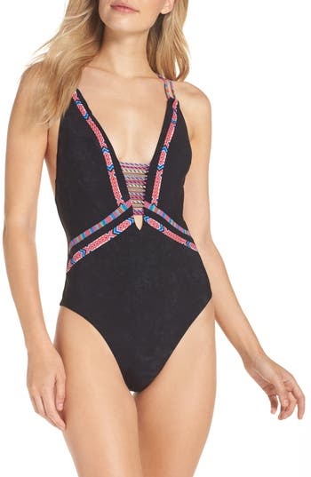 Nanette Lepore Cha Cha Cha Goddess One-Piece Swimsuit, Black