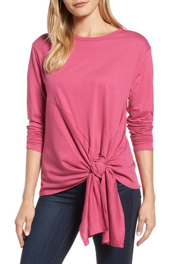 Women's Caslon Long Sleeve Side Tie Tee, Size X-Small - Pink
