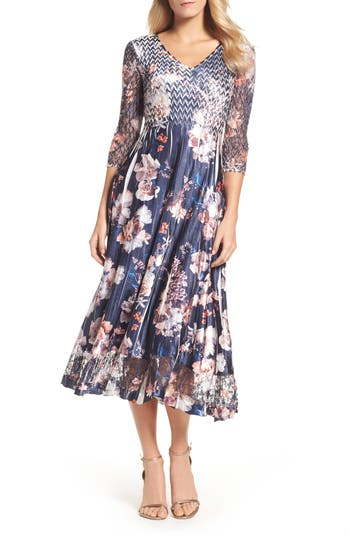 Komarov Print Charmeuse & Lace A-Line Dress, Blue