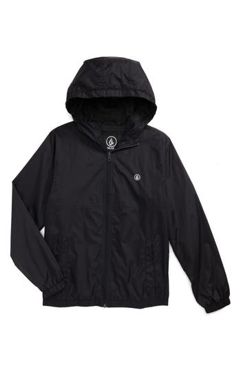 Boys Volcom Ermont Hooded Nylon Jacket Size M  1012  Black