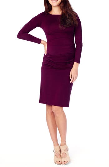 Ingrid & Isabel Shirred Maternity Dress, Purple