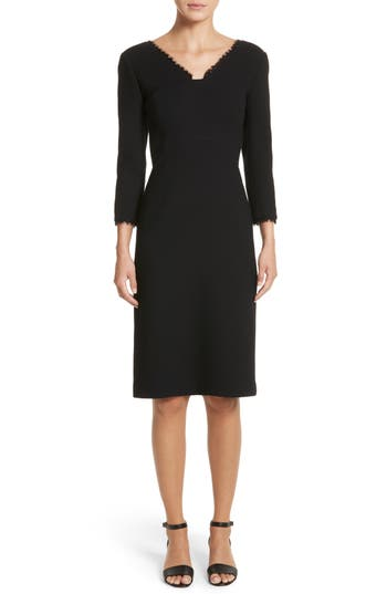 Lafayette 148 New York Shandy Lace Trim Wool Dress, Black