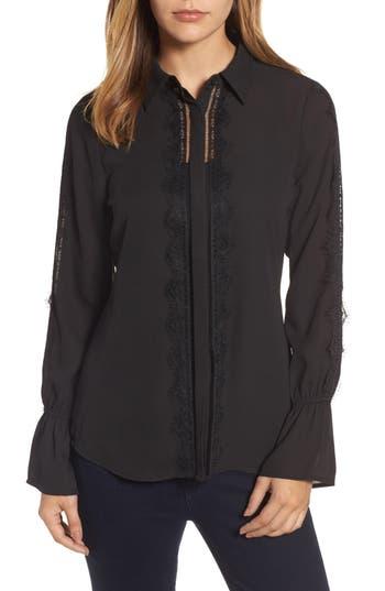 Women's Bobeau Lace Trim Blouse, Size X-Small - Black