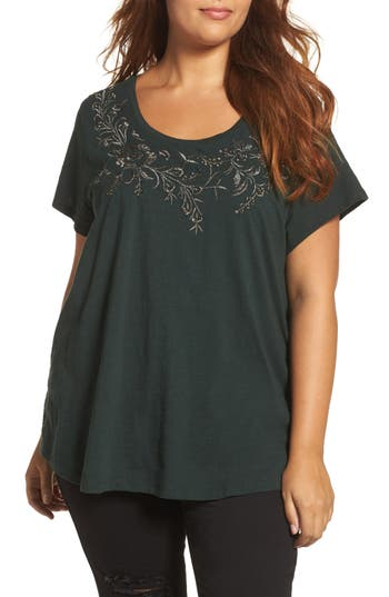 Plus Size Lucky Brand Floral Embellished Tee, Green