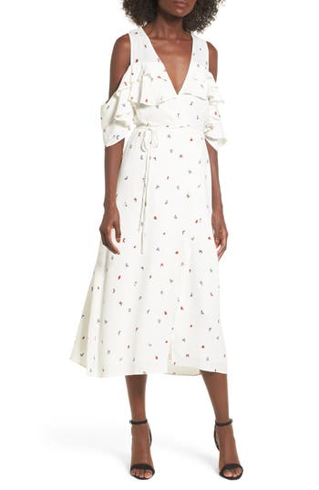 Women's Afrm Daisy Ruffle Midi Dress, Size X-Small - White