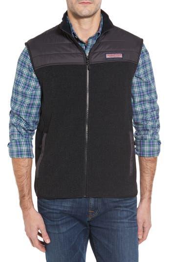 Men's Vineyard Vines Quilted Yoke Fleece Vest, Size X-Small - Black