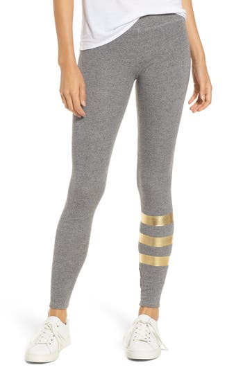 Women's Sundry Foil Stripe Yoga Pants, Size 2 - Grey