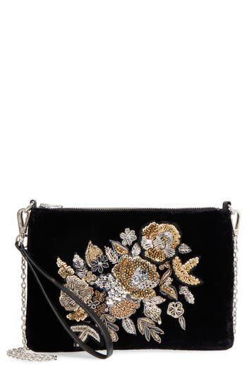 Chelsea28 Fleur Decor Velvet Convertible Wristlet - Black at NORDSTROM.com