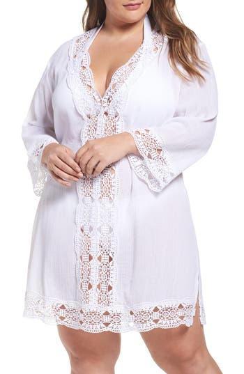 Plus Size La Blanca Island Fare Cover-Up Tunic, White