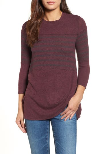 Women's Caslon Stripe Panel Sweater, Size Small - Burgundy