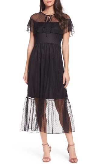 Nsr Lace Midi Dress, Black