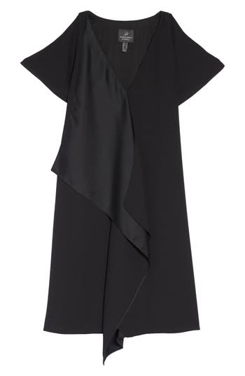 Women's Adrianna Papell Crepe & Satin Ruffle Shift Dress, Size 2 - Black