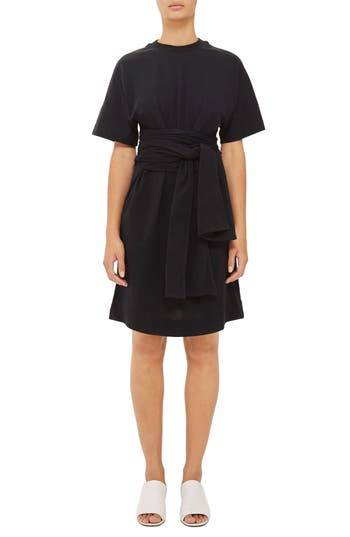 Women's Topshop Boutique Wrap Waist T-Shirt Dress, Size 4 US (fits like 0-2) - Black